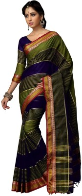 Srijati Striped Mysore Handloom Cotton Sari