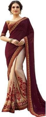 Shreeji Fashion Plain Fashion Georgette Sari