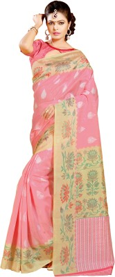 Urban Vastra Floral Print Bhagalpuri Jute Sari