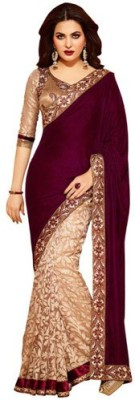 Makekaartz Embellished Fashion Velvet Sari