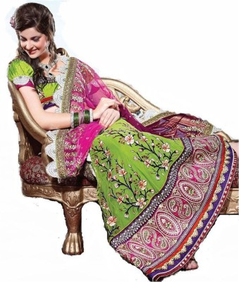Triveni Self Design Fashion Net Saree(Pink) at flipkart