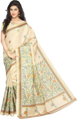 Rani Saahiba Printed Bhagalpuri Art Silk Sari(Beige, Orange)