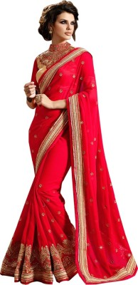 Fab Valley Embroidered Bollywood Georgette Saree(Red) at flipkart