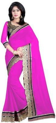 Nimi Fashion Self Design, Embriodered, Solid, Woven Bollywood Handloom Georgette Sari