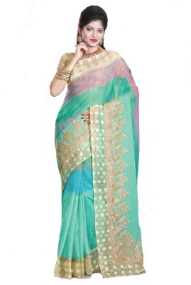 Glad2baWoman Woven, Striped, Self Design, Floral Print Bomkai Net Sari