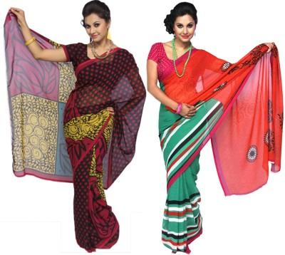 Wishing Wardrobe Polka Print, Geometric Print Daily Wear Georgette Sari
