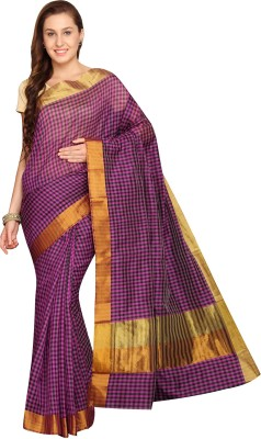 Pavechas Checkered Banarasi Silk Cotton Blend Saree(Purple) at flipkart