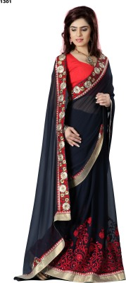 Krishna Prints Embriodered Bollywood Georgette Sari