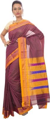 Dhammanagi Checkered, Woven Ilkal Handloom Silk Cotton Blend Sari
