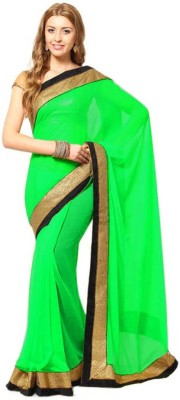 Fatkart Plain Fashion Synthetic Georgette Sari