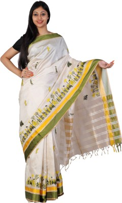 PriyanjaliBoutique Applique Banarasi Handloom Banarasi Silk Sari