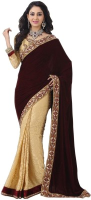 Thavki Creation Embriodered Bollywood Velvet Sari