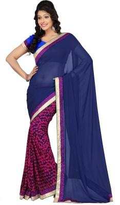 Abida Self Design, Solid Fashion Georgette Sari