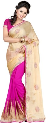 Aksh Fashion Embroidered Bollywood Pure Georgette Sari(Pink)