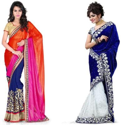 Tulsi Nx Solid Fashion Georgette, Velvet Sari