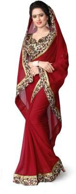 Indianbeauty Solid, Printed Bollywood Chiffon Sari