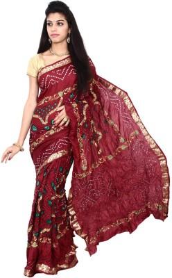 Kala Sanskruti Self Design Bandhej Handloom Silk Sari