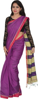 AtiGrens Solid Phulia Cotton Sari
