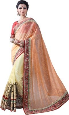 Chirag Sarees Embroidered Bollywood Georgette Sari(Orange)