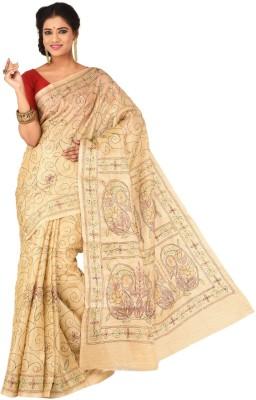 Creation Floral Print Kantha Silk Cotton Blend Sari