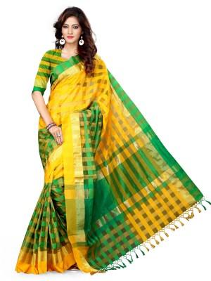 Asavari Checkered Chanderi Silk Cotton Blend Sari