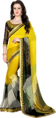 Gerbera Designer Printed, Embriodered Fashion Georgette Sari