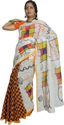 KheyaliBoutique Geometric Print Tant Handloom Cotton Sari