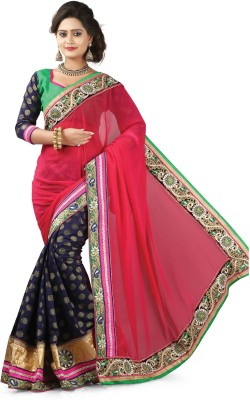 Shart Embriodered, Self Design Fashion Synthetic Georgette, Jacquard Sari
