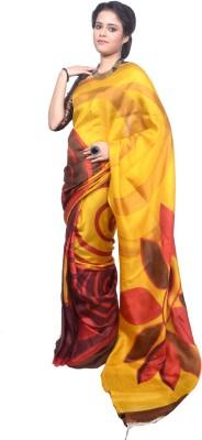 Tanjinas Floral Print Fashion Silk Sari