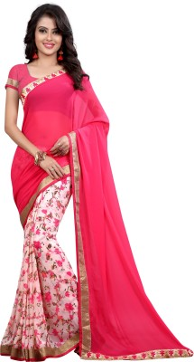 Arya Fashion Self Design Bollywood Georgette Saree(Pink) at flipkart