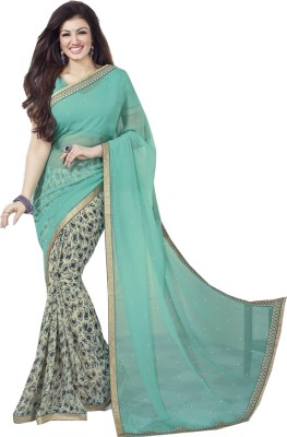 Genius Creation Floral Print Bollywood Georgette Sari