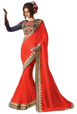 Crystalfashionsarees Self Design Bollywood Handloom Georgette Sari