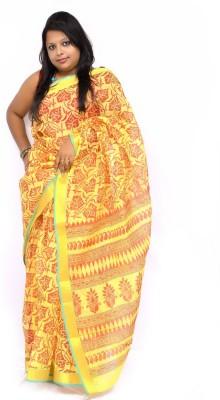 Gulmohaar Floral Print, Printed Bollywood Cotton Sari