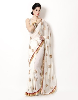 HIRA CREATION Embriodered Bollywood Handloom Chiffon Sari