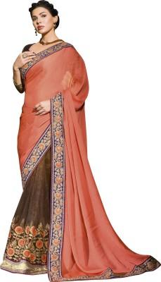 Orange and Orchid Embriodered Fashion Chiffon Sari