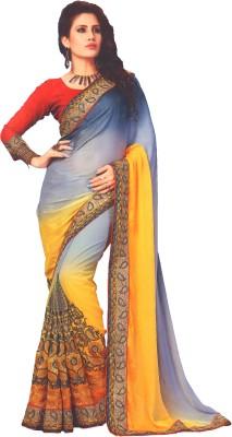 Lata Embriodered, Embellished Bollywood Marble Padding, Silk, Brasso Sari