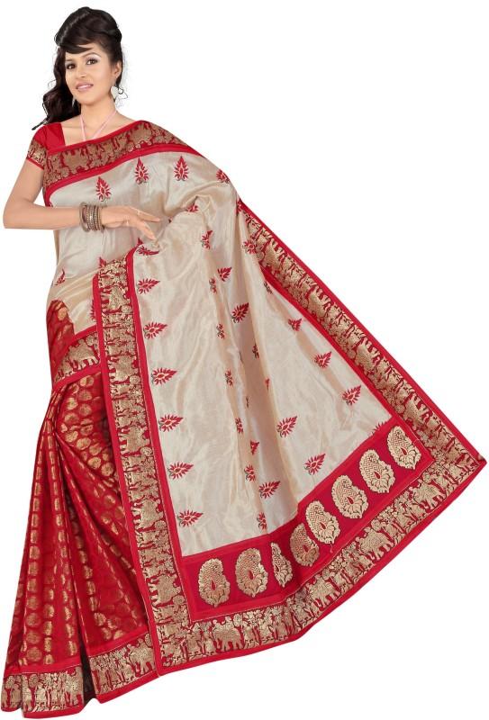 svb sarees Self Design Daily Wear Cotton Saree(Red)