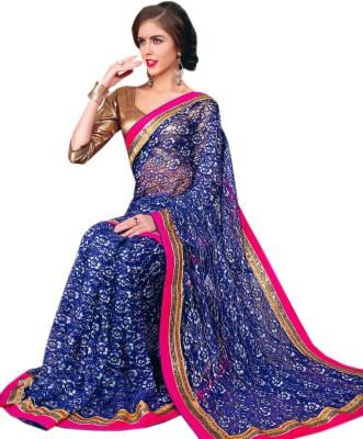 Purple Boat Floral Print Fashion Net Sari