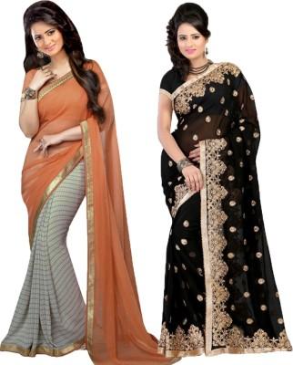 Bluebird impex Self Design Bollywood Georgette, Georgette Sari