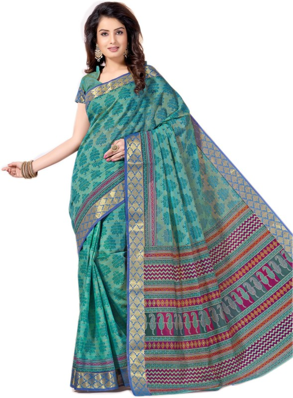 Aarti Apparels Printed Gadwal Cotton Saree(Light Blue)