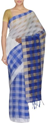 Rudrakshhh Striped Fashion Handloom Art Silk Saree(Dark Blue, White) at flipkart