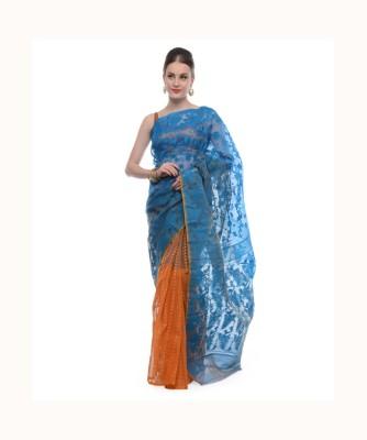 Samayra Self Design Jamdani Handloom Jacquard Sari