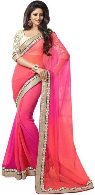 Yogi Creation Solid Bollywood Georgette Sari