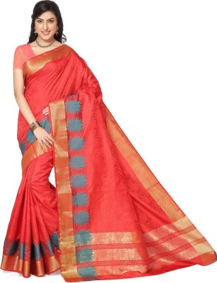 Rani Saahiba Self Design Kanjivaram Jacquard, Art Silk Sari(Red)
