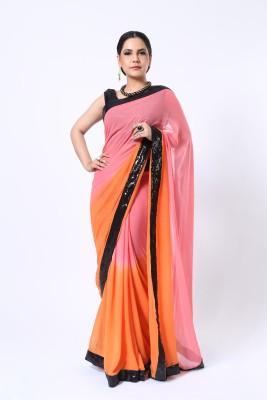 Ethnic Route Solid Fashion Georgette Sari
