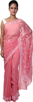 Ada Embriodered Lucknow Chikankari Georgette Sari
