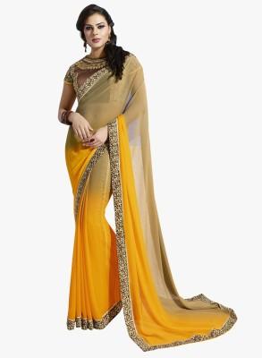 Kvsfab Plain Fashion Georgette Sari
