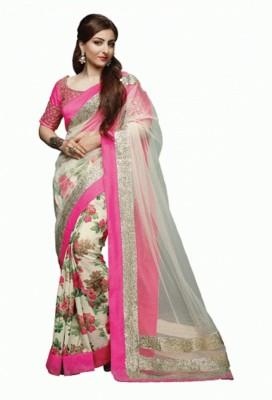 Glamour Tex Floral Print Bollywood Net Sari