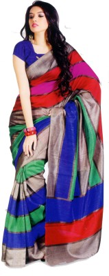 Sunaina Striped Bhagalpuri Cotton, Silk Saree(Multicolor) at flipkart