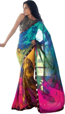 Heart & Soul Hand Painted Bollywood Georgette Sari